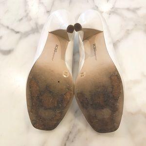 BCBGeneration Shoes - BCBGeneration White Patent Leather Open-Toe Pumps